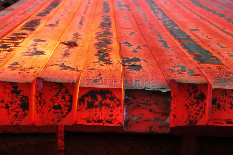 Hot red metal blank billet. Hot red solid metal blank molten billet royalty free stock image
