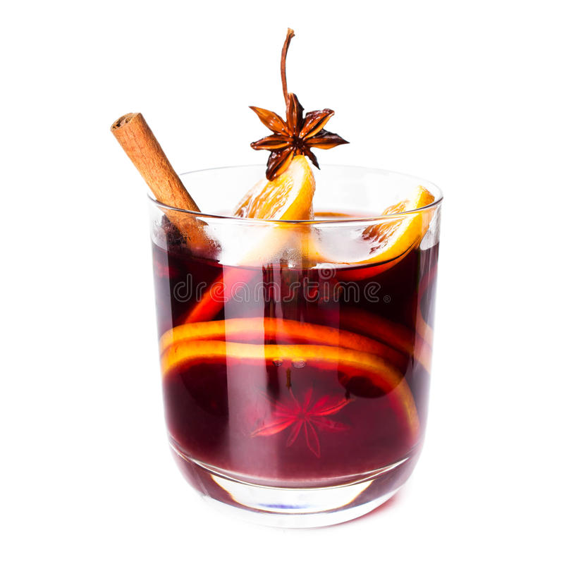 Hot Red Mulled Wine For Winter And Christmas With Orange Slice, Royalty Free Stock Photos