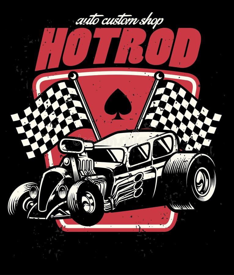 Hot rod auto custom shop badge stock illustration