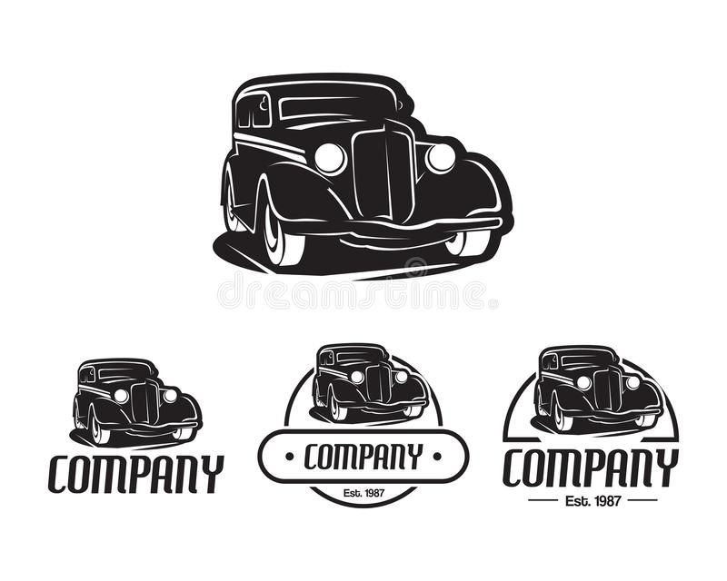 Hot rod car logo template vector design element vintage style for label or badge retro illustration, Classic car silhouette vector illustration