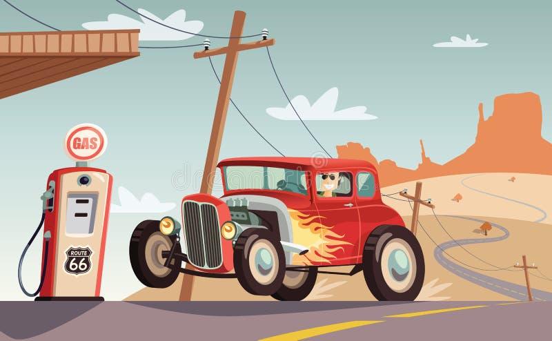 Hot rod car in Route 66 desert vector illustration