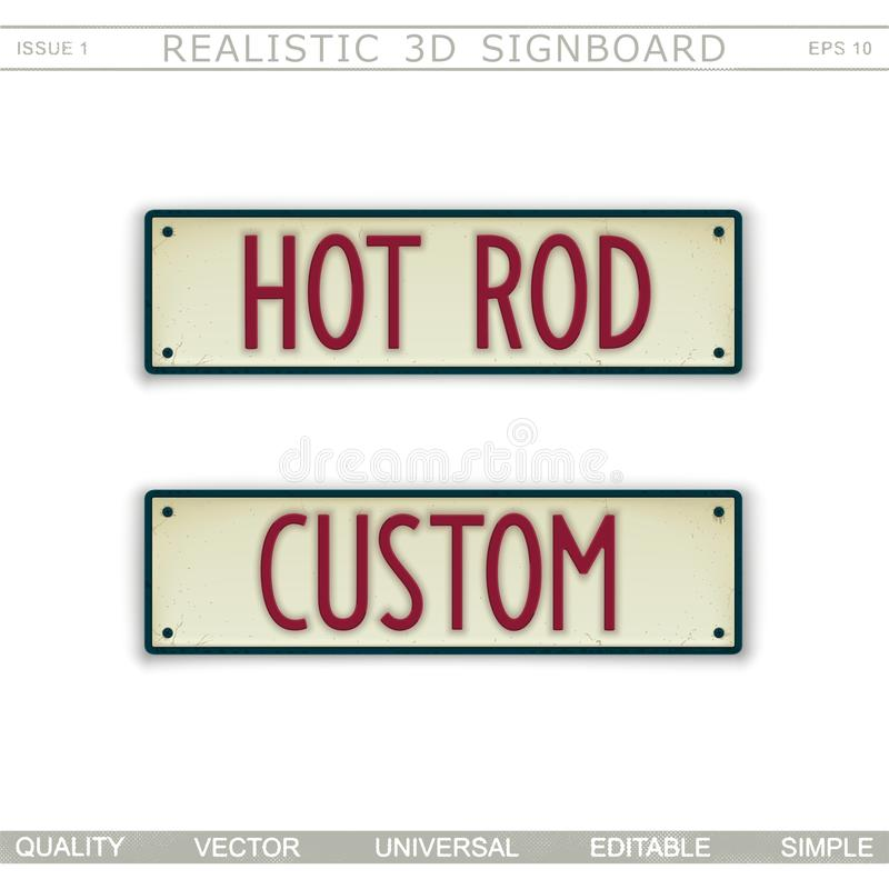 Hot Rod. Custome. 3D signboard. Top view. Vector design elements royalty free illustration