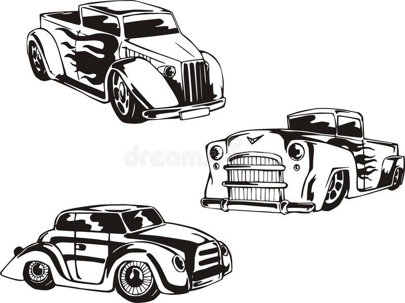 Hot Rod Designs with Flames vector illustration