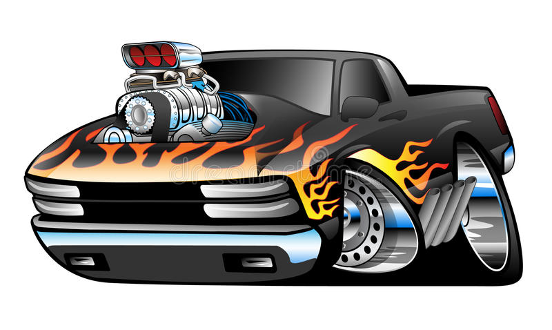 Hot Rod Pickup Truck Illustration. Hot rod American muscle pick-up truck, huge engine with blower, big rims and tires, custom classic flame paint job vector illustration