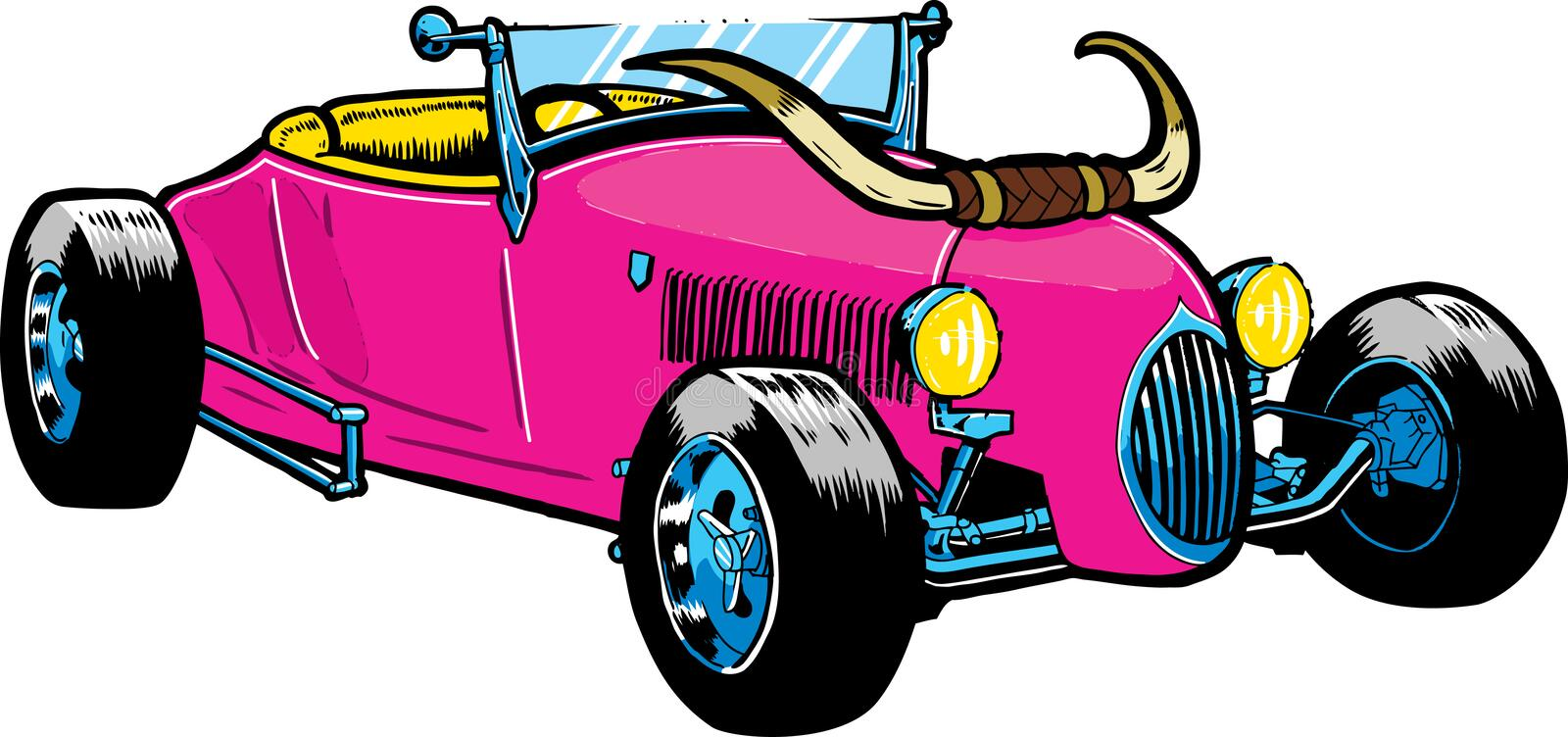 Download Hot Rod Style Car With Large Horns Stock Vector - Image: 19753456