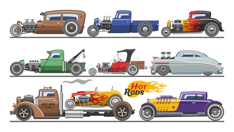 Hot rods car vector vintage classic vehicle and retro auto transport roadster illustration set of hot-rods automobile royalty free illustration