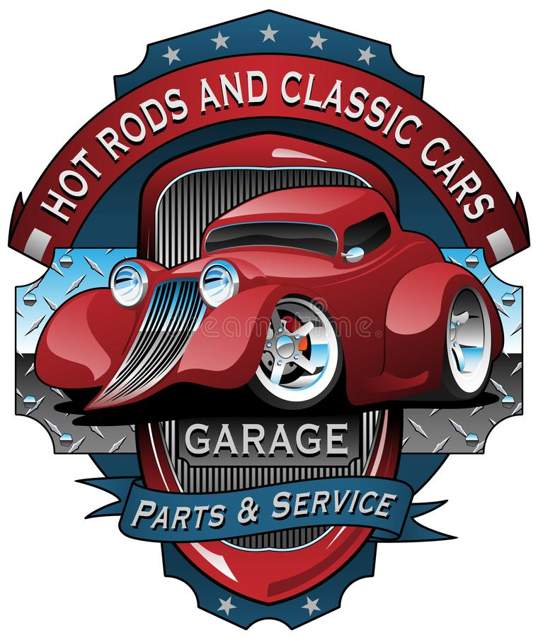 Hot Rods and Classic Cars Garage Vintage Sign Vector Illustration. Very cool illustration for the automobile enthusiast, car clubs, and man caves. Sharp hot rod stock illustration