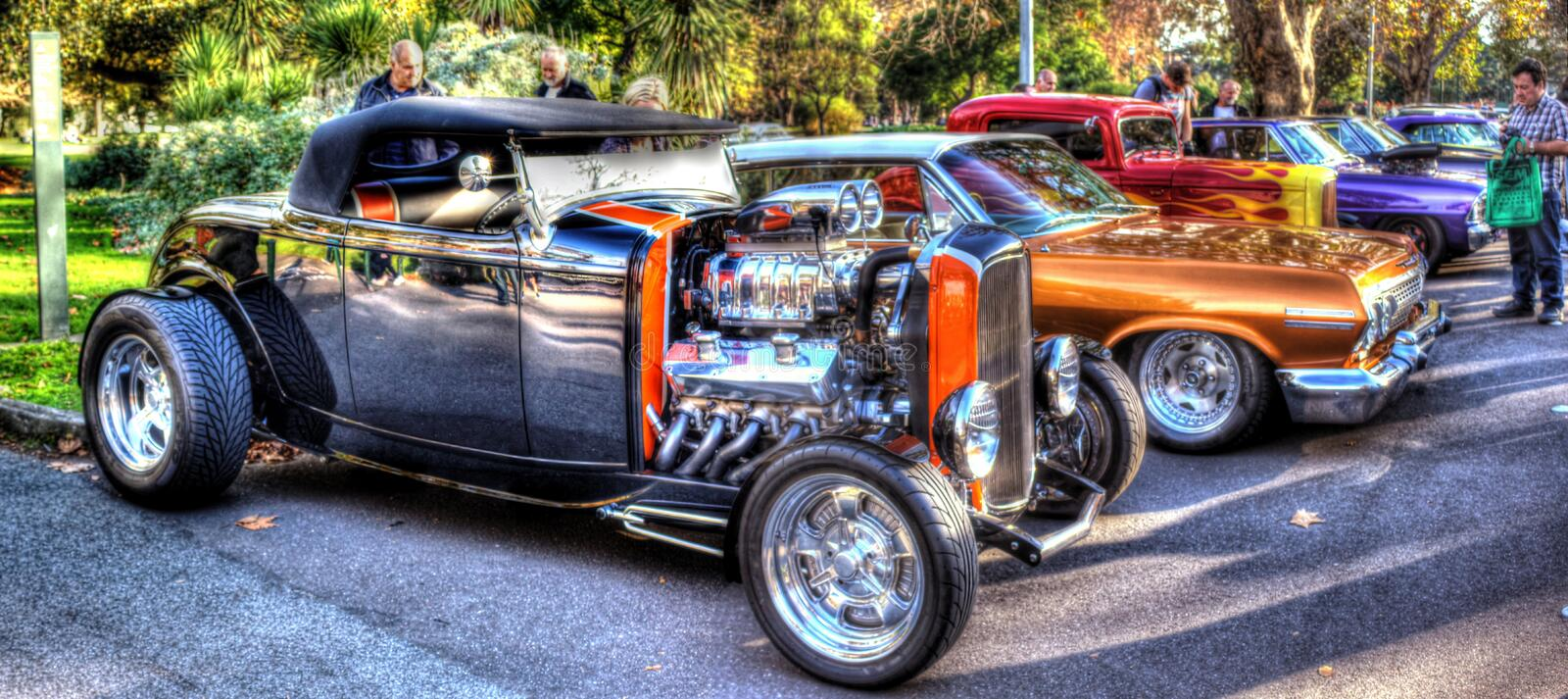 Hot rods on display stock photos