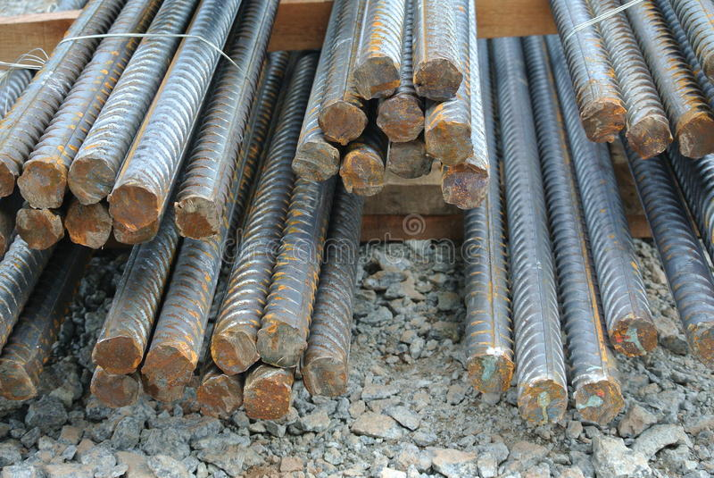 Hot rolled deformed steel bars a.k.a. steel reinforcement bar. SELANGOR, MALAYSIA – FEBRUARY 10, 2015: Hot rolled deformed steel bars used at construction stock photo