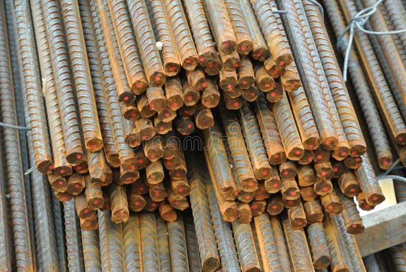 Hot rolled deformed steel bars a.k.a. steel reinforcement bar. SELANGOR, MALAYSIA – SEPTEMBER 19, 2015: Hot rolled deformed steel bars a.k.a. steel royalty free stock photography