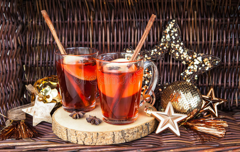 Hot rum punch with apple. And spices royalty free stock image