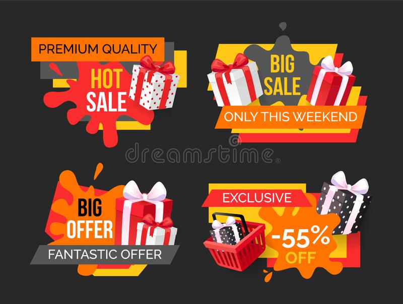 Hot Sale, Big Offer on Exclusive Products Set vector illustration