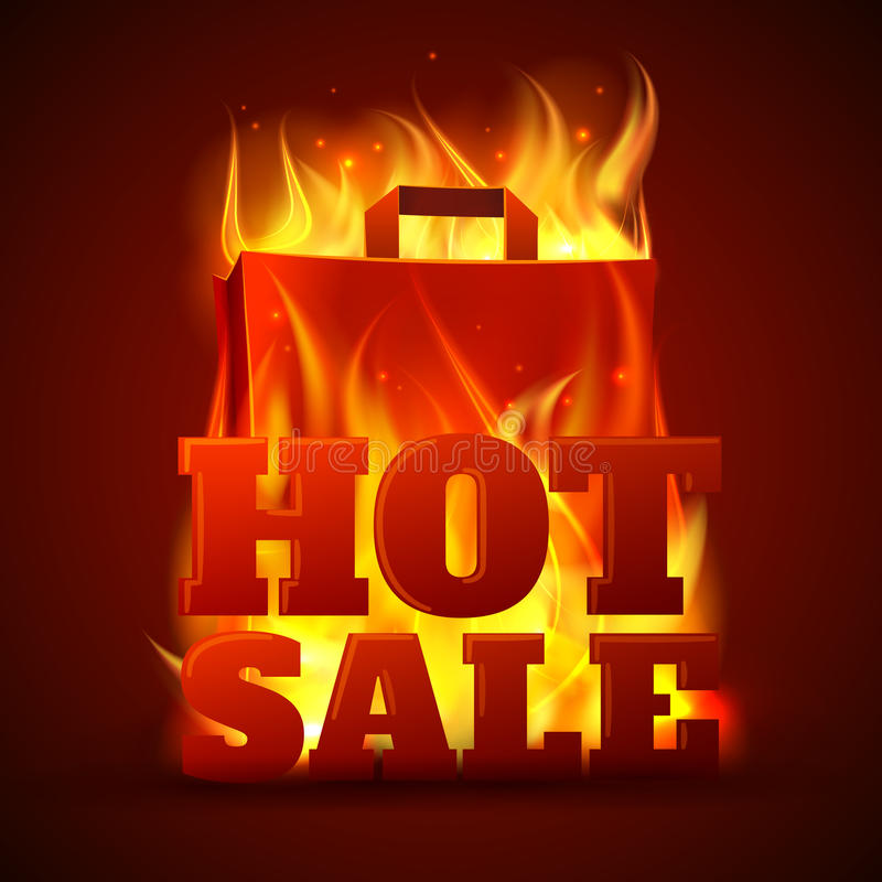 Hot sale fire banner. Hot sales department store outdoor advertisement billboard banner with glowing text in flames poster abstract vector illustration stock illustration