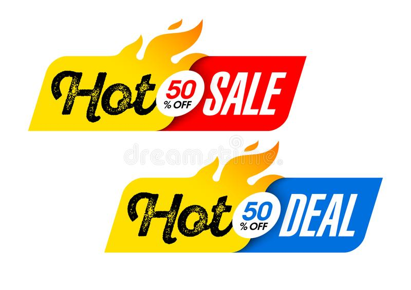 Hot Sale and Hot Deal labels stock illustration