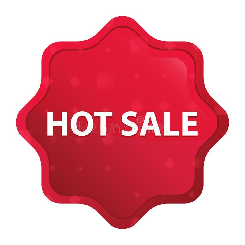 Hot Sale misty rose red starburst sticker button royalty free illustration