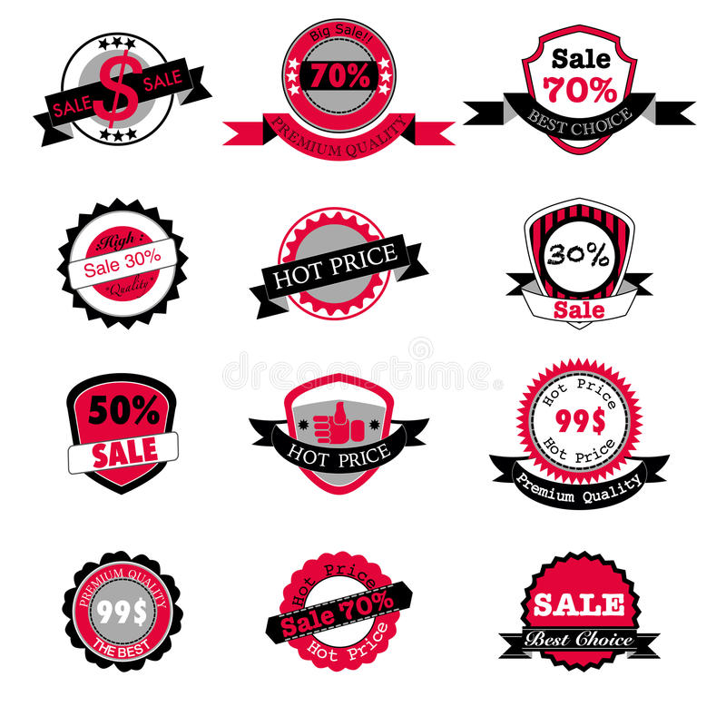 Hot sale and price labels vector set royalty free illustration