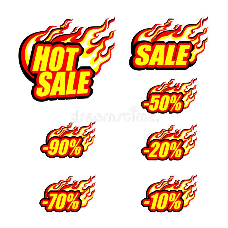Free Hot Sale Set, Color Sale Inscription And Various Discounts Stock Photography - 151741202