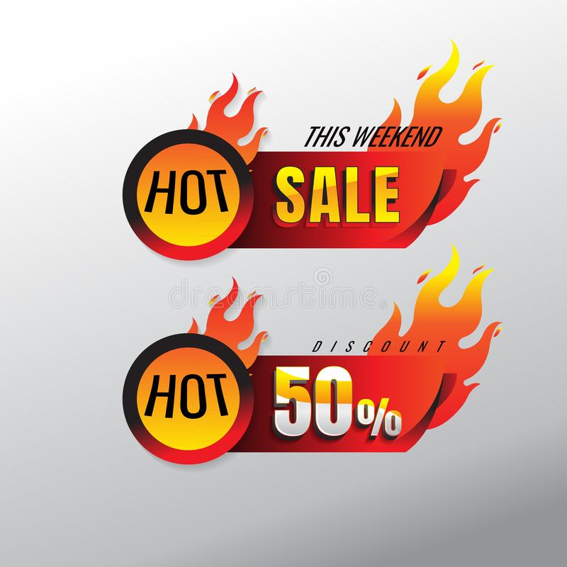 Hot Sale banner. This weekend special offer, big sale, discount 50%. Creative glowing social media banner design. vector. on gray stock illustration