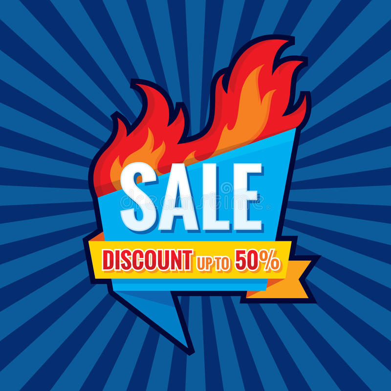 Hot sale - vector banner template concept illustration. Discount up to 50% - creative layout with origami badge and red fire flame vector illustration