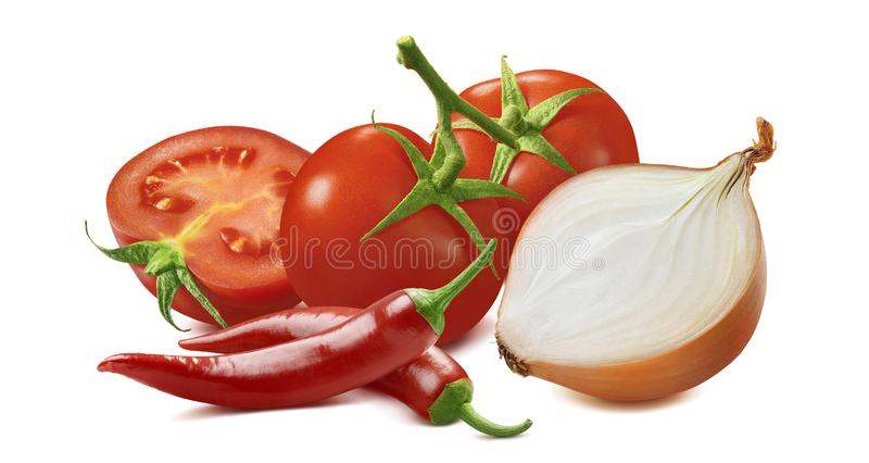 Hot salsa ingredients. Tomato, onion and red chili pepper  on white background royalty free stock images