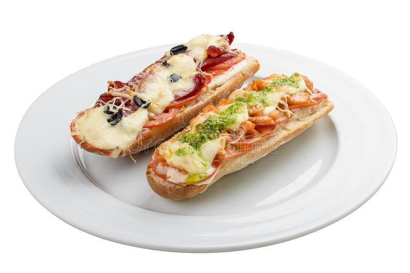 Hot sandwich. On a white background stock photography