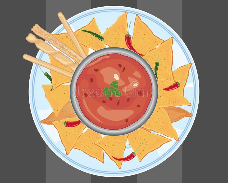 Hot sauce with nachos and bread sticks on a gray background. An illustration of a ceramic plate with crunchy nachos and bread sticks around a bowl of hot chilli vector illustration