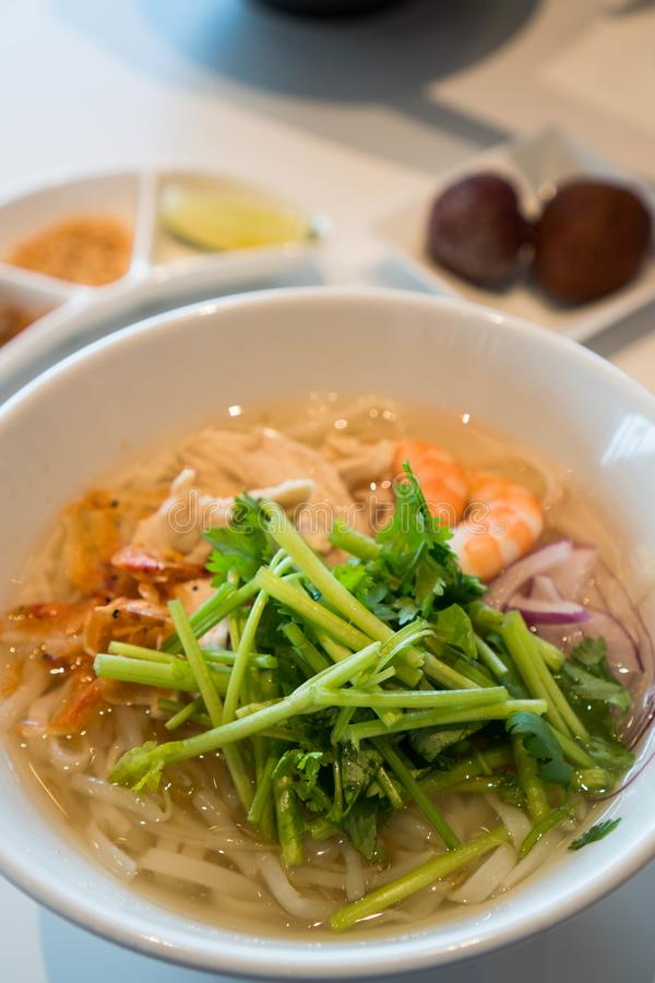 Hot seafood Vietnamese noodle soup stock photo