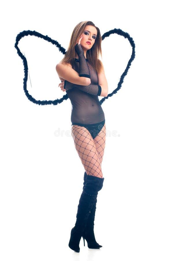 Hot black angel girl stock photos