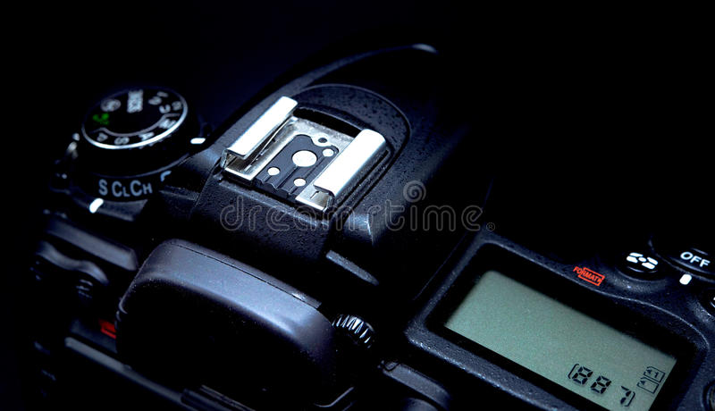 Hot shoe for a DSLR camera macro royalty free stock images