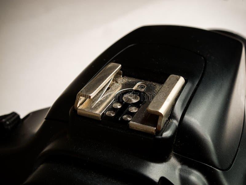 Hot shoe on modern digital single-lens reflex mirrorless camera, contact for external flash stock image