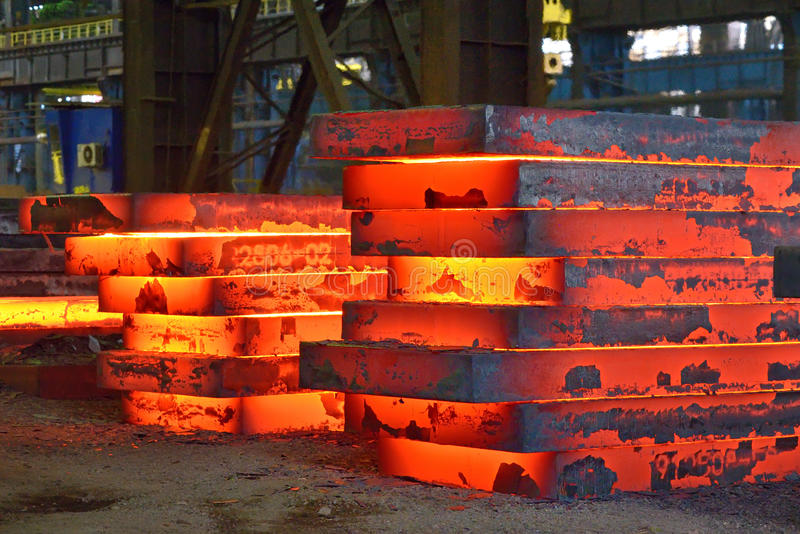 Hot slab stack. Industry steel, Hot slab stack royalty free stock images