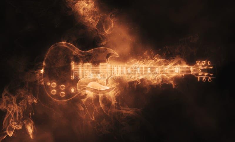 Hot smoke epic rock guitar vector illustration