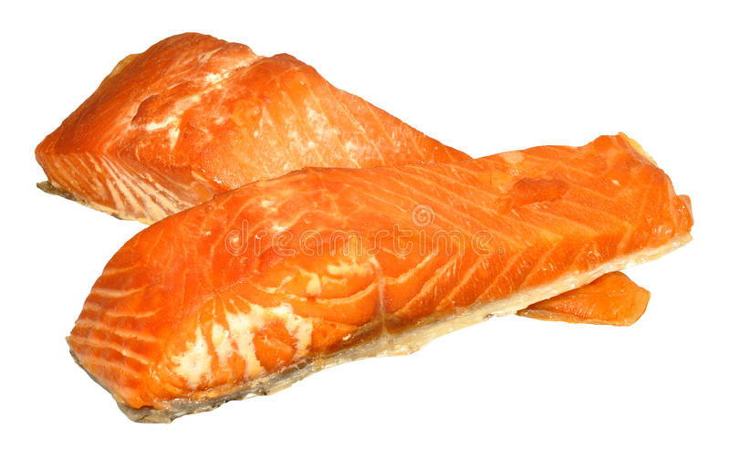 Hot Smoked Salmon Fillets royalty free stock photo