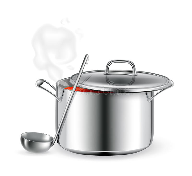 Hot soup. On the white royalty free illustration