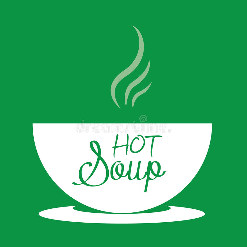 Hot soup in a bowl stock illustration
