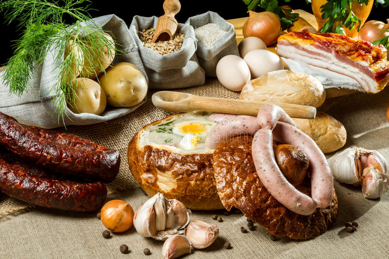 Hot soup in bread for easter breakfast royalty free stock photo
