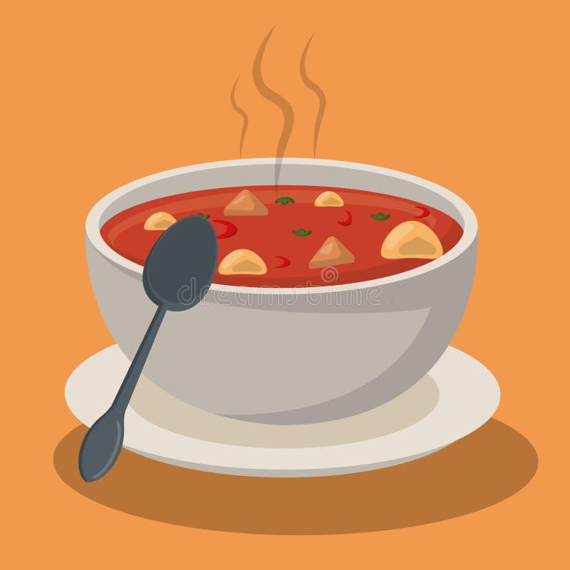 Hot soup pasta vegetables bowl dish spoon. Vector illustration royalty free illustration