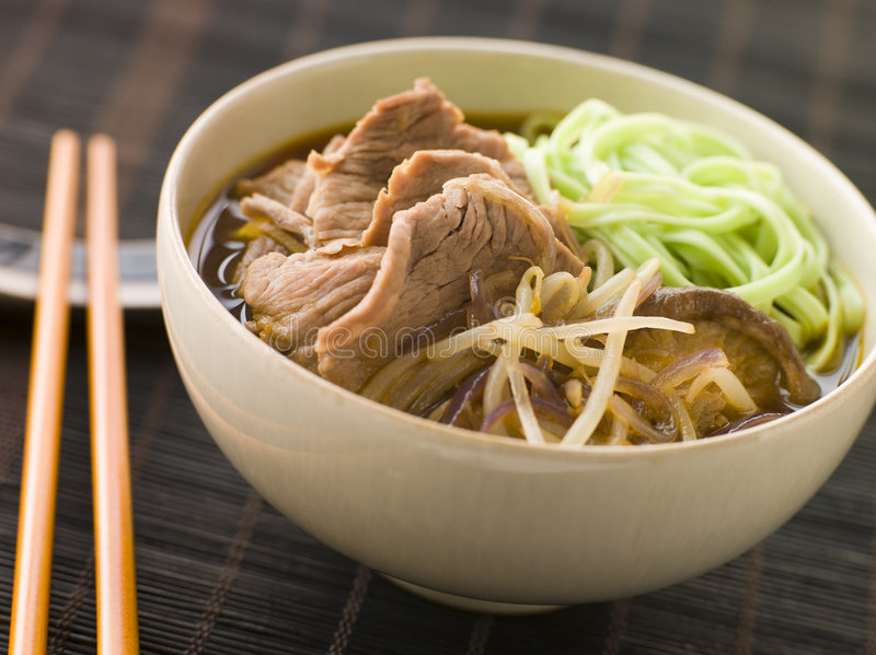 Download Hot And Sour Beef Broth With Spinach Ramen Noodles Stock Photo - Image: 5357566