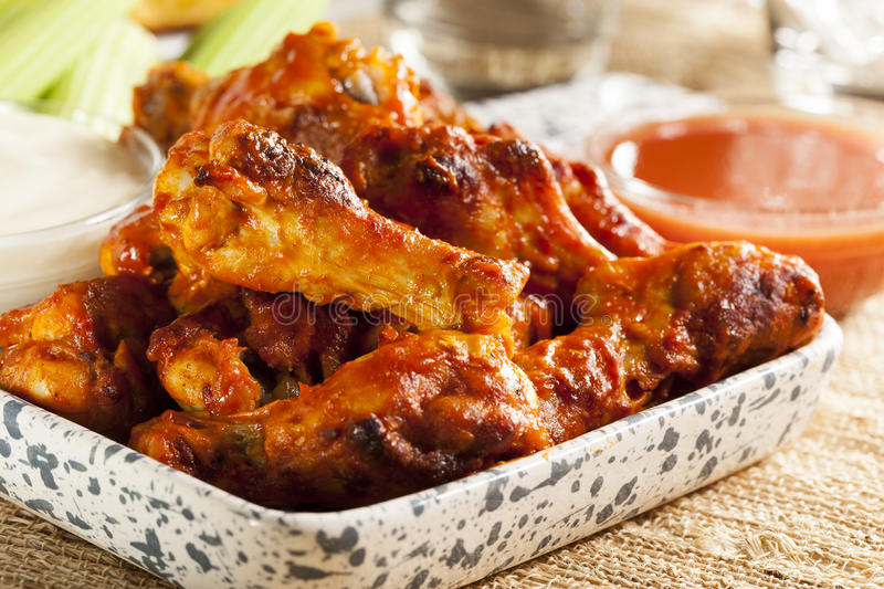 Hot and Spicey Buffalo Chicken Wings stock photos