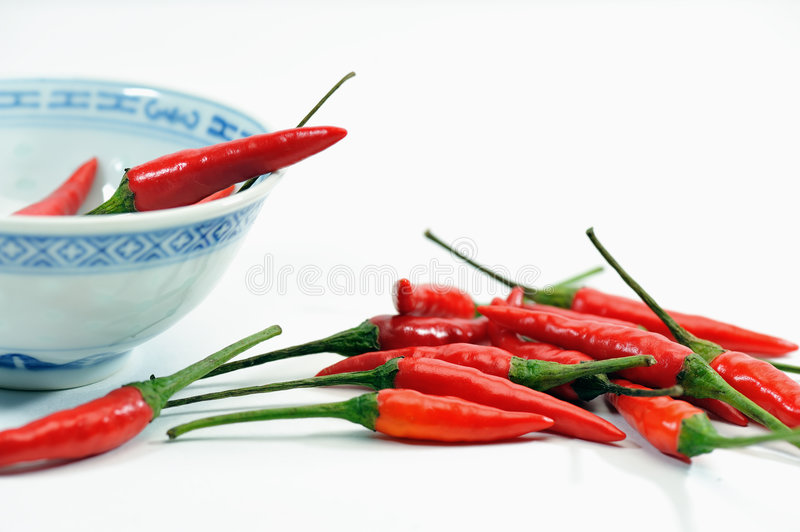 Hot and Spicy 5. A bunch of small spicy red chillies royalty free stock images