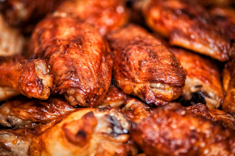 Hot and spicy buffalo style chicken wings. Hot buffalo style chicken wings food fried spicy bbq barbecue fresh appetizer meat roasted sauce cuisine delicious pub royalty free stock photography