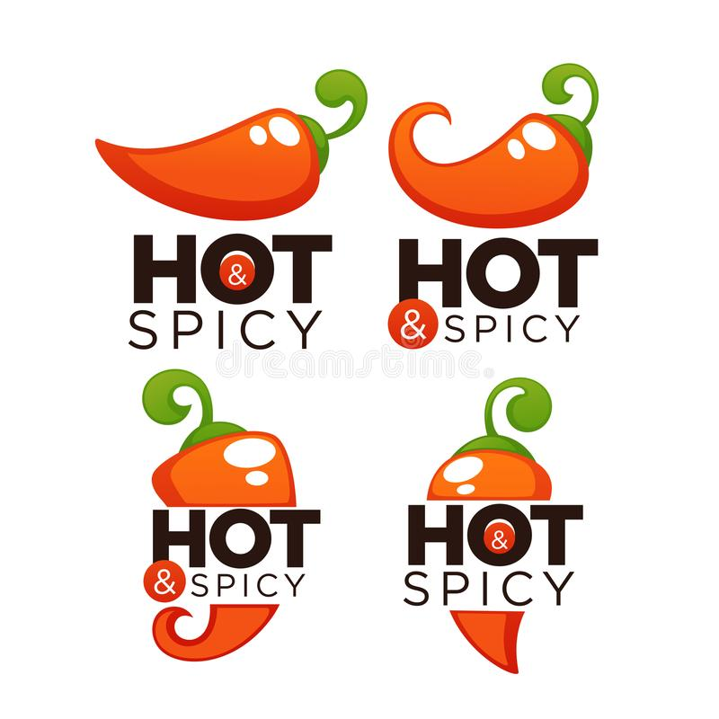 Hot and spicy chili pepper logo, icons and emblems, with lettering composition royalty free illustration