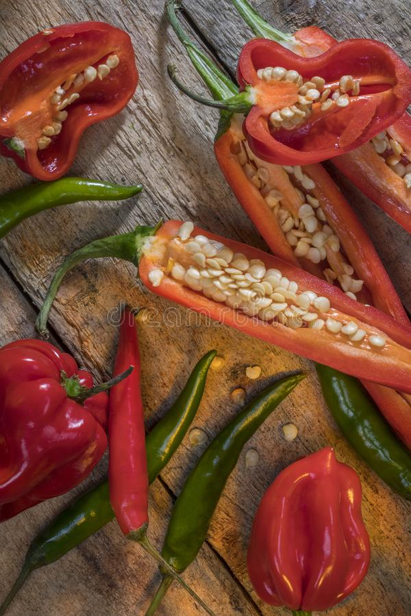 Hot and spicy chili peppers royalty free stock photos