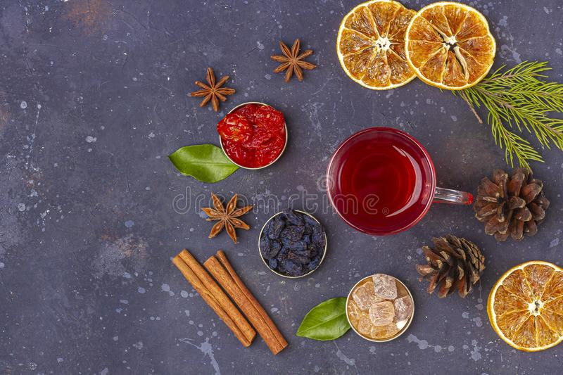 Hot spicy Christmas home made drink. Mulled wine, cranberry punch or Sangria with cranberries and orange for  feast in oriental. Style. Winter holidays concept stock photos