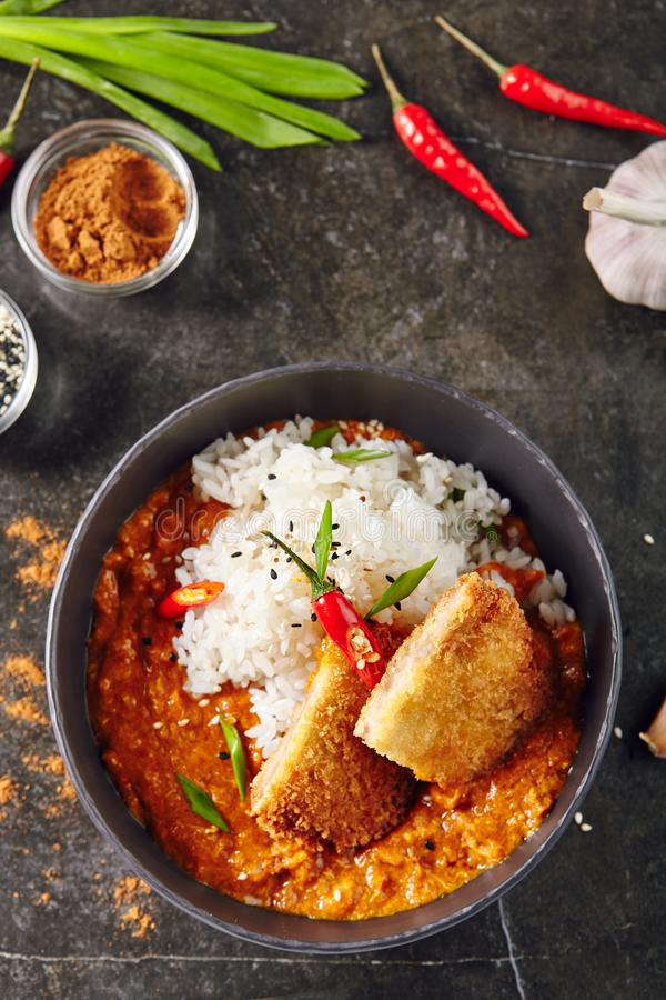 Free Hot Spicy Crispy Fried Chicken Fillet With Curry And Rice On Dar Royalty Free Stock Photos - 121993348