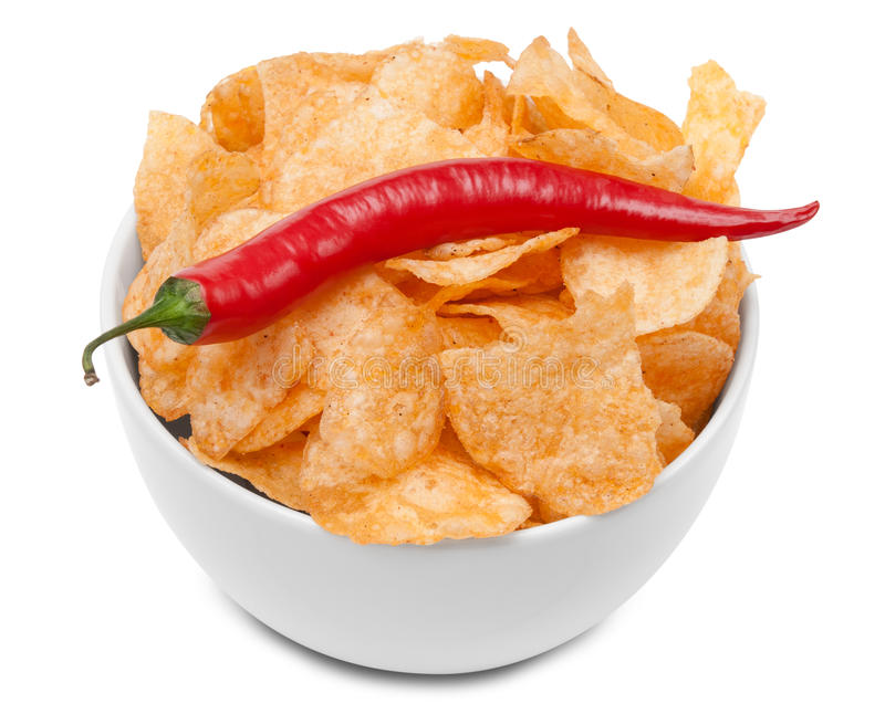 Download Hot spicy Potato Chips stock photo. Image of snack, fiery - 18512156