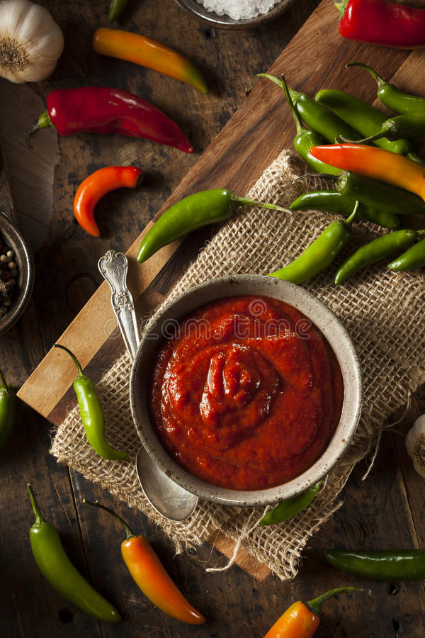Hot Spicy Red Sriracha Sauce stock photography