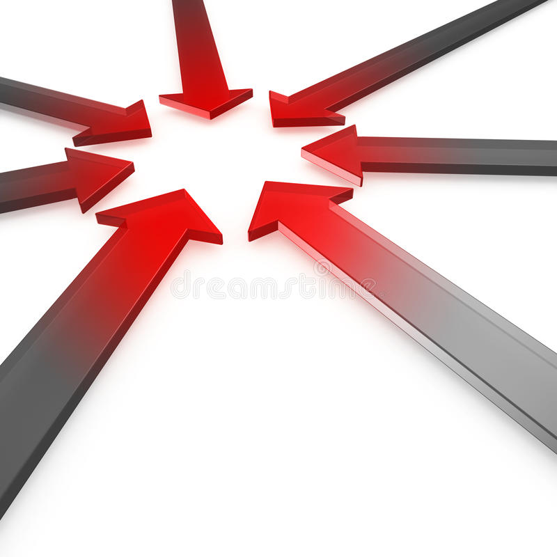 Hot spot. Red glowing metal glassy arrows tip-to-tip pointing to a center hot spot on white background royalty free illustration