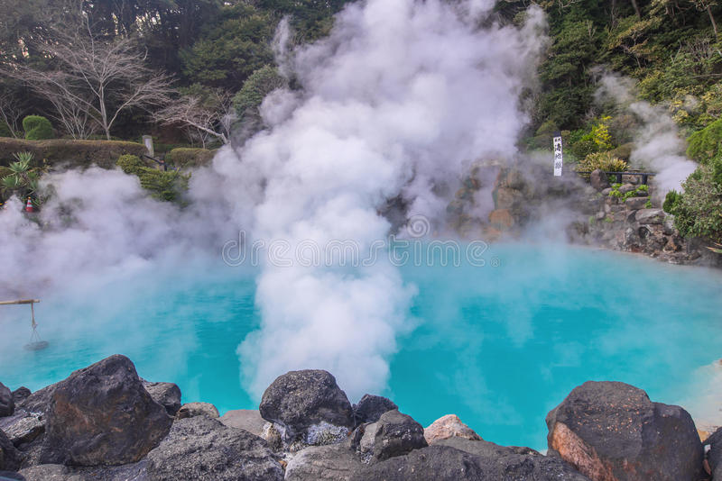Hot spring & x28;Hell& x29; blue water in Umi-Zigoku in Beppu Oita, Japan.  stock images