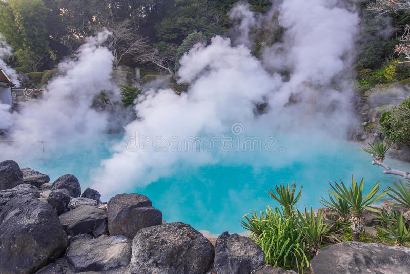 Hot spring & x28;Hell& x29; blue water in Umi-Zigoku in Beppu Oita, Japan.  royalty free stock images